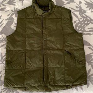 Lands End Olive Green Down Vest Size L